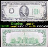 1934a $100 Green Seal Federal Reserve Note (Chicago, IL) Grades Choice AU/BU Slider+