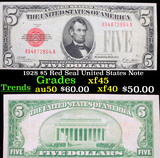1928 $5 Red Seal United States Note Grades xf+