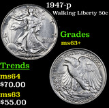1947-p Walking Liberty Half Dollar 50c Grades Select+ Unc