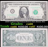 1969D $1 Green Seal Federal Reserve Note (Boston, MA) Grades Gem++ CU