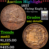 ***Auction Highlight*** 1857 Flying Eagle Cent 1c Graded Unc Details By USCG (fc)