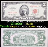 1963A $2 Red seal United States Note Grades Gem CU