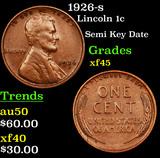 1926-s Lincoln Cent 1c Grades xf+