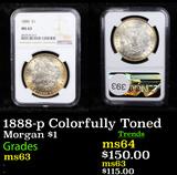 NGC 1888-p Colorfully Toned Morgan Dollar $1 Graded ms63 By NGC