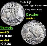 1946-p Walking Liberty Half Dollar 50c Grades Choice+ Unc