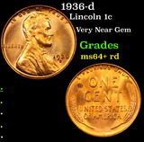 1936-d Lincoln Cent 1c Grades Choice+ Unc RD