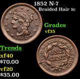 1852 N-7 Braided Hair Large Cent 1c Grades vf++