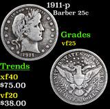 1911-p Barber Quarter 25c Grades vf+