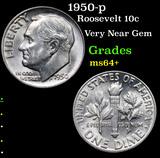 1950-p Roosevelt Dime 10c Grades Choice+ Unc