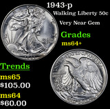 1943-p Walking Liberty Half Dollar 50c Grades Choice+ Unc