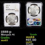 NGC 1888-p Morgan Dollar $1 Graded ms63 By NGC