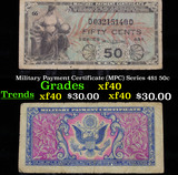 Military Payment Certificate (MPC) Series 481 50c Grades xf