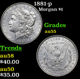 1881-p Morgan Dollar $1 Grades Choice AU