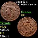 1831 N-3 Coronet Head Large Cent 1c Grades f+