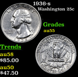 1936-s Washington Quarter 25c Grades Choice AU