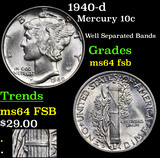 1940-d Mercury Dime 10c Grades Choice Unc FSB