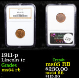 NGC 1911-p Lincoln Cent 1c Graded ms64 rb By NGC