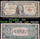 1935A $1 Silver Certificate Hawaii WWII Emergency Currency Rare PC Block Grades f, fine