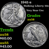 1941-s Walking Liberty Half Dollar 50c Grades Choice AU/BU Slider