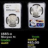 NGC 1885-o Morgan Dollar $1 Graded ms63 By NGC