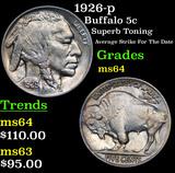 1926-p Buffalo Nickel 5c Grades Choice Unc