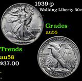 1939-p Walking Liberty Half Dollar 50c Grades Choice AU