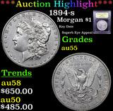 ***Auction Highlight*** 1894-s Morgan Dollar $1 Graded Choice AU By USCG (fc)