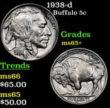 1938-d Buffalo Nickel 5c Grades GEM+ Unc