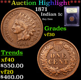 ***Auction Highlight*** 1871 Indian Cent 1c Graded vf++ By USCG (fc)