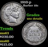 1910-p Barber Dime 10c Grades Unc Details