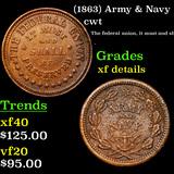 (1863) Army & Navy Civil War Token 1c Grades xf details