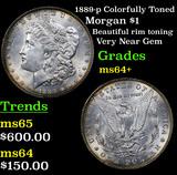 1889-p Colorfully Toned Morgan Dollar $1 Grades Choice+ Unc