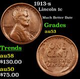 1913-s Lincoln Cent 1c Grades Select AU