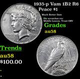 1935-p Vam 1B2 R6 Peace Dollar $1 Grades Choice AU/BU Slider