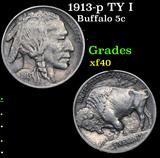 1913-p TY I Buffalo Nickel 5c Grades xf