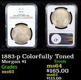 NGC 1883-p Colorfully Toned Morgan Dollar $1 Graded ms63 By NGC