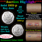 ***Auction Highlight*** Full solid Key date 1901-p Morgan silver dollar roll, 20 coin (fc)