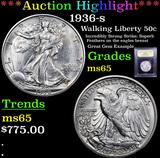 ***Auction Highlight*** 1936-s Walking Liberty Half Dollar 50c Graded GEM Unc By USCG (fc)