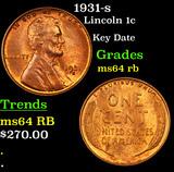 1931-s Lincoln Cent 1c Grades Choice Unc RB