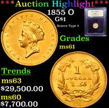 ***Auction Highlight*** 1855 O Gold Dollar $1 Graded BU+ By USCG (fc)