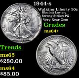 1944-s Walking Liberty Half Dollar 50c Grades Choice+ Unc