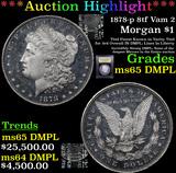 ***Auction Highlight*** 1878-p 8tf Vam 2 Morgan Dollar $1 Graded GEM Unc DMPL By USCG (fc)