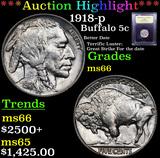 ***Auction Highlight*** 1918-p Buffalo Nickel 5c Graded GEM+ Unc By USCG (fc)