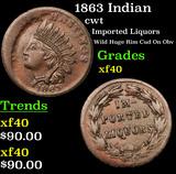 1863 Indian Civil War Token 1c Grades xf