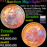 ***Auction Highlight*** 1860-s Ty 2 No Motto WB-2  Seated Half Dollar 50c Graded Select Unc By USCG