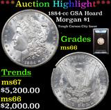 ***Auction Highlight*** ANACS 1884-cc GSA Hoard Morgan Dollar $1 Graded ms66 by ANACS (fc)