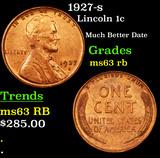 1927-s Lincoln Cent 1c Grades Select Unc RB