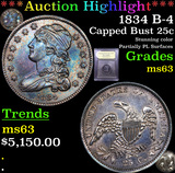 ***Auction Highlight*** 1834 B-4 Capped Bust Quarter 25c Graded Select Unc By USCG (fc)