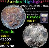 ***Auction Highlight*** 1924-s Rainbow Toned Peace Dollar $1 Graded Choice+ Unc By USCG (fc)