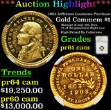 Proof ***Auction Highlight*** NGC 1903 Jefferson Louisiana Purchase Gold Commem Dollar 1 Graded pr61